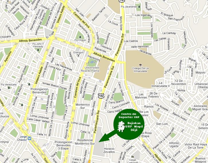 Dojo de Bujinkan URP Ninpo Perú domingos de 09:00 a 11:00 hrs. bujinkan@urp.edu.pe