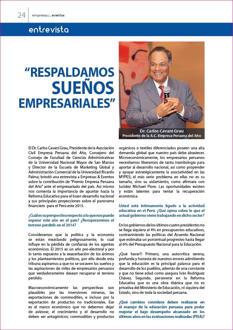 Carlos Cavani Grau - Presidente de la Asociación Civil Empresa Peruana del Año